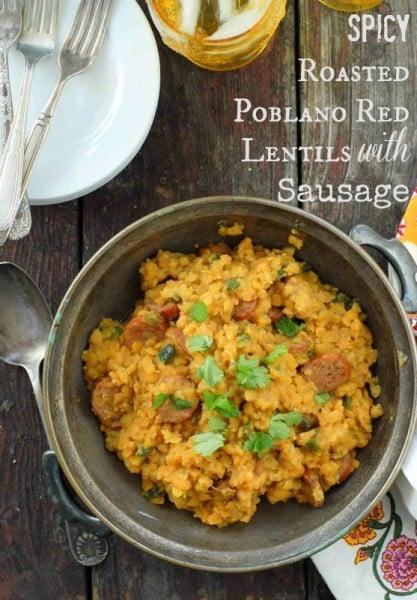 Spicy Poblano Red Lentils with sausage gluten free BoulderLocavore.com