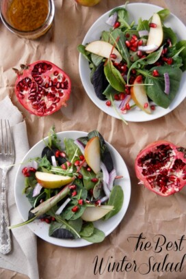 The Best Winter Salad with halved pomegranates