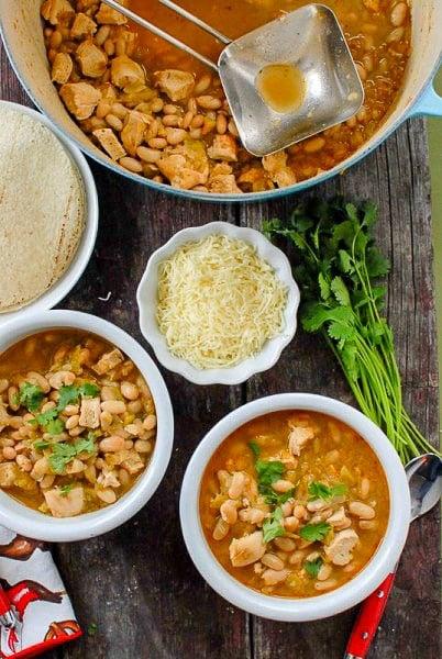 bowls of spicy white bean chicken chili