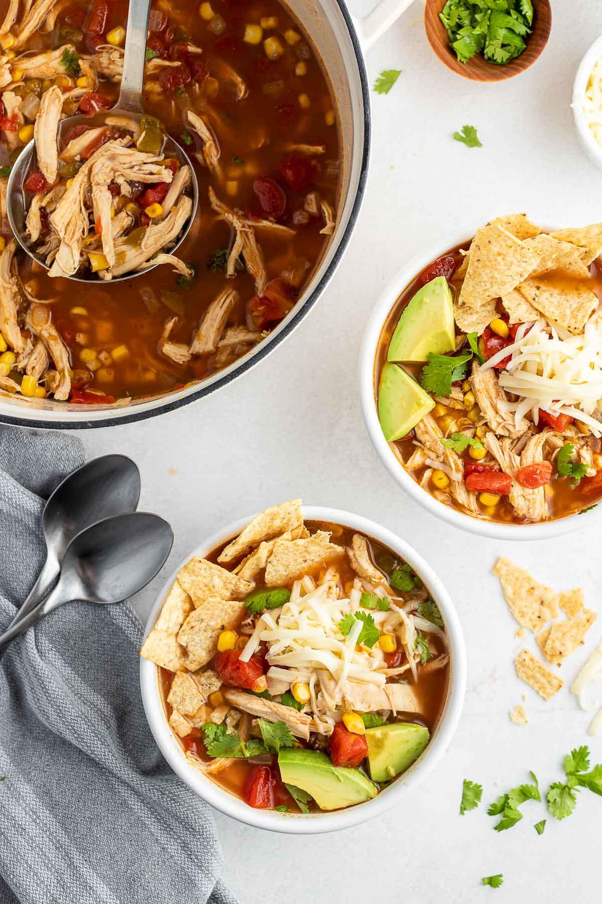 chicken tortilla soup in bowls