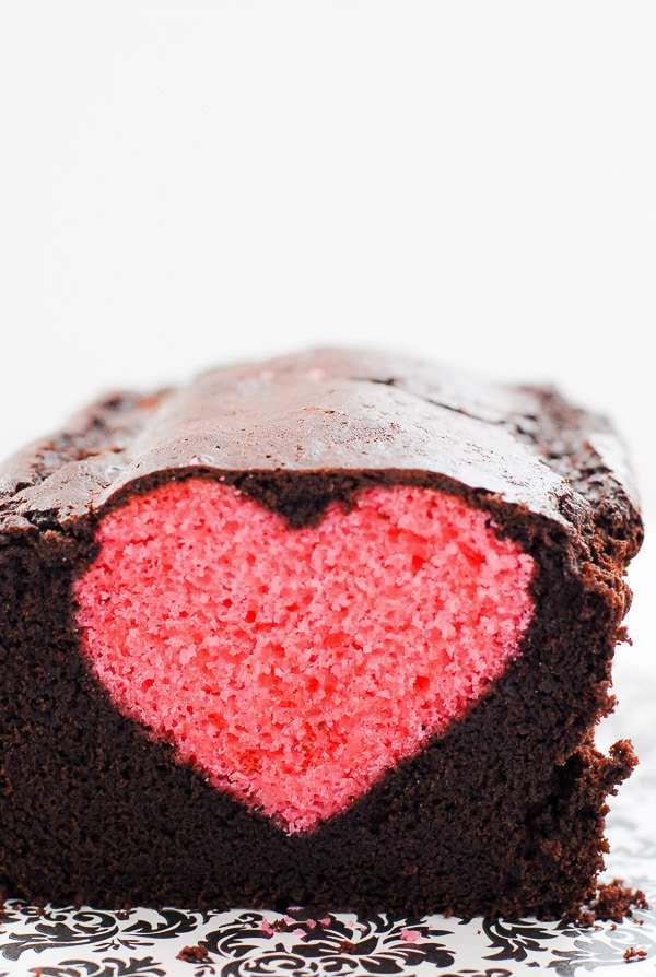 chocolate pound cake with pink heart inside