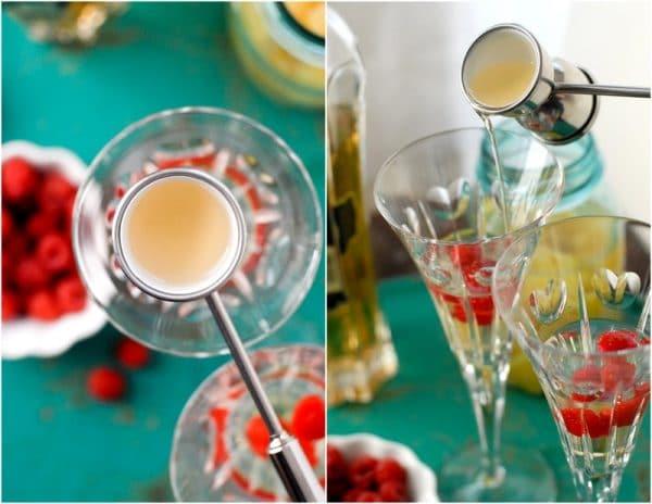 Jigger of liquor poring into glass