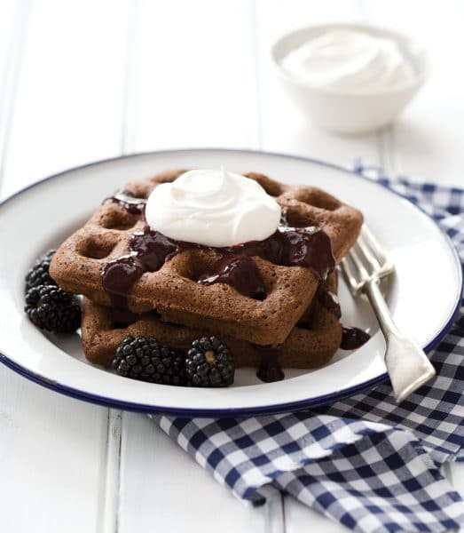 Chocolate Brownie Waffles with Blackberry Sauce from Breakfast for Dinner Cookbook (Quirk Books)