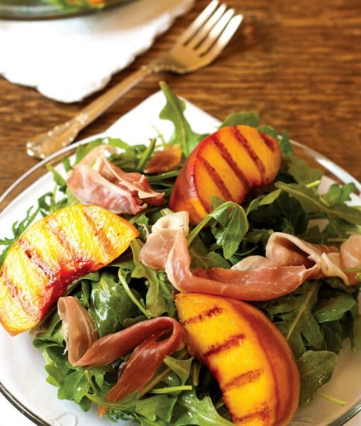 Grilled Palisade Peach, Serrano Ham, and Rocket Salad - Tasting Colorado (Farcountry Press)