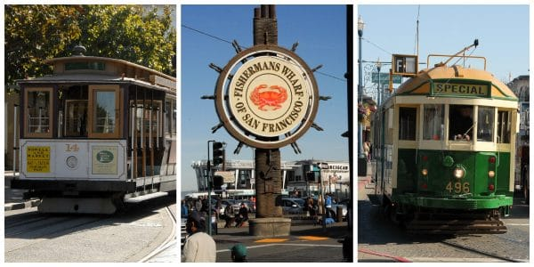 Though now uber touristy I don't think a visit to San Francisco is complete without a trip to Fisherman's Wharf.  The original San Francisco fishing and restaurant families still have a presence here with Alioto's, and everyone much try a 'walking shrimp cocktail' served up fresh by a number of seaside vendors.  This is also the mecca of souvenir t-shirts, and tchotchkes.  As you walk from Fisherman's Wharf toward Ghirardelli Square there is a great nautical shop, Frank's Fisherman full of quality clothing/t-shirts, nautical antiques, books and fisherman gear that is authentic and worth a stop!