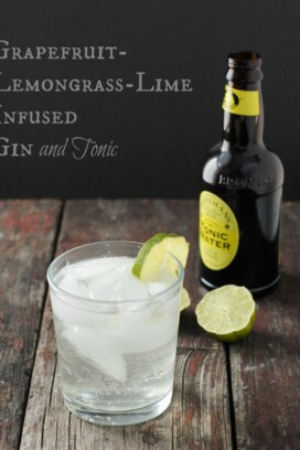 Grapefruit-Lemongrass-Lime Infused Gin and a Gin and Tonic cocktail