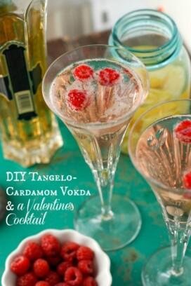 Homemade Tangelo-Cardamom Vodka Valentine's Cocktail