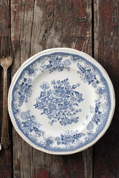 Vintage blue white transferware plates | BoulderLocavore.com