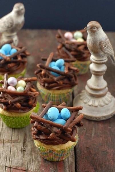 Blue eggs Chocolate Bird's Nest cupcakes  |BoulderLocavore.com