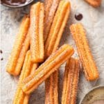 Churros with chocolate dipping sauce and recipe title label