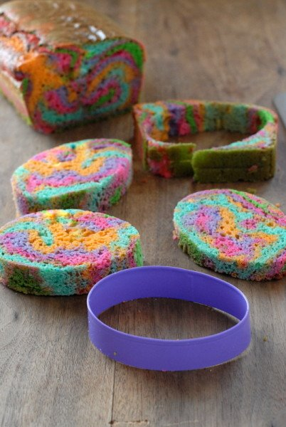 Rainbow cake eggs for Hidden Egg Cake | BoulderLocavore.com