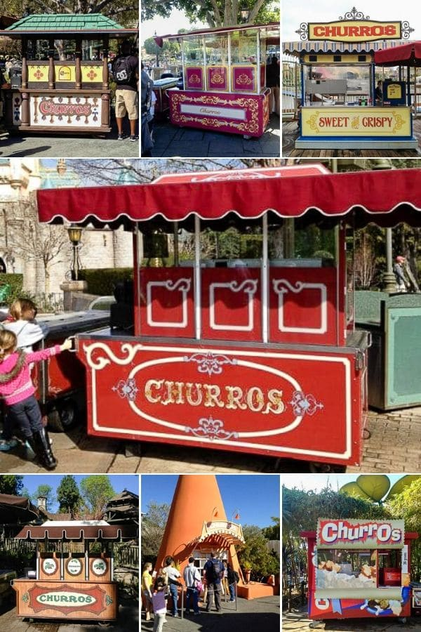 collage of Churro stands at Disneyland CA and Adventure Land CA