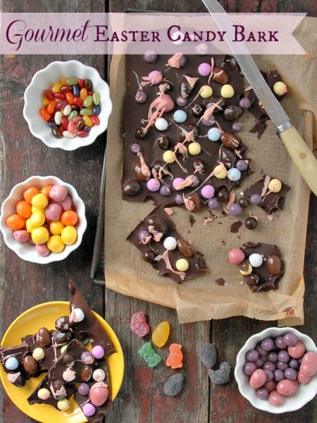 Gourmet Chocolate Easter Candy Bark on baking sheet