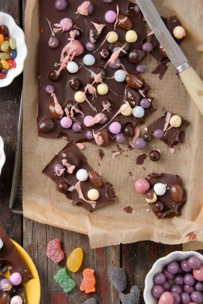 Gourmet Chocolate Easter Candy Bark on paechment