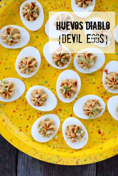 Huevos Diablo {Devil Eggs} on plate