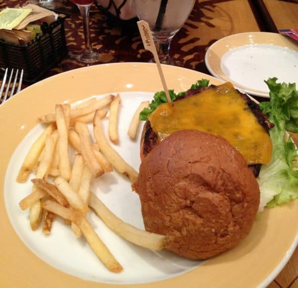 Clearly marked Gluten-Free Cheeseburger and fries at the Storyteller Cafe {Grand Californian Hotel - Disneyland|}