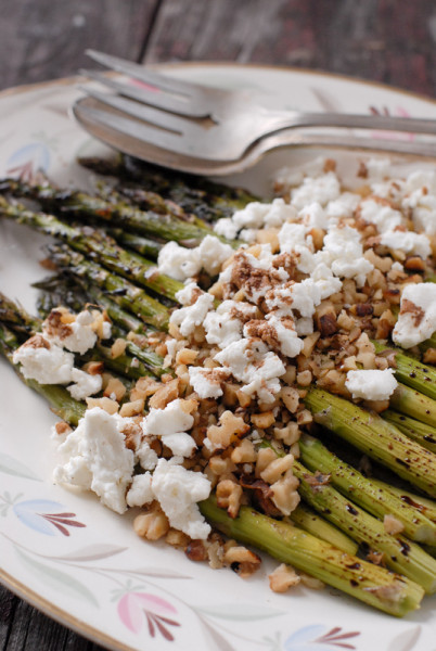 Roasted Balsamic Asparagus with Goat Cheese and Toasted Walnuts  BoulderLocavore.com