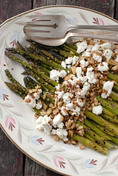 Roasted Balsamic Asparagus with Goat Cheese and Toasted Walnuts - BoulderLocavore.com