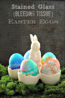 Stained Glass Bleeding Tissue Easter Eggs in bunny container