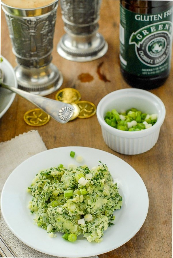 Irish Colcannon recipe with scallions and bottles of beer