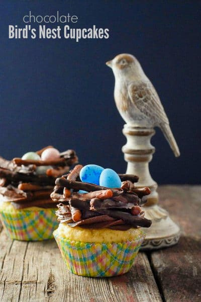 Chocolate Bird's Nest Cupcakes in colorful papers and blue eggs with wooden bird (easter cupcakes)