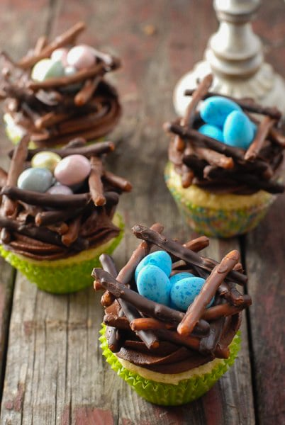 Chocolate Bird's Nest Cupcakes (easter cupcakes) with blue chocolate eggs gluten-free