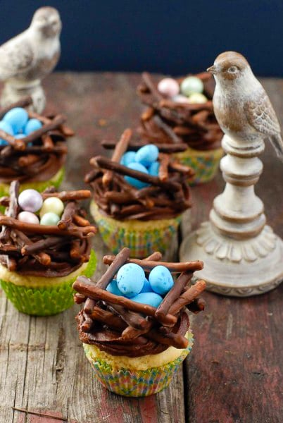 Easter cupcakes: Chocolate Bird's Nest Cupcakes in colorful wrappers with wooden birds