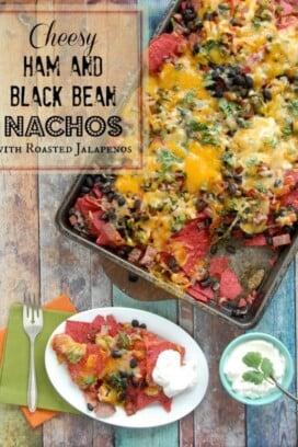 Cheesy Ham and Black Bean Nachos