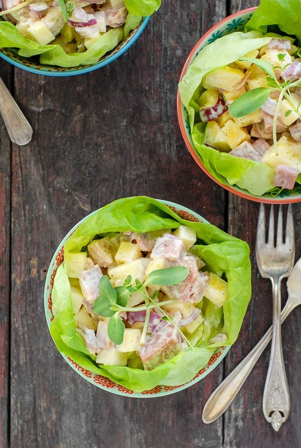 Hawaiian Chopped Ham Salad recipe in bowls