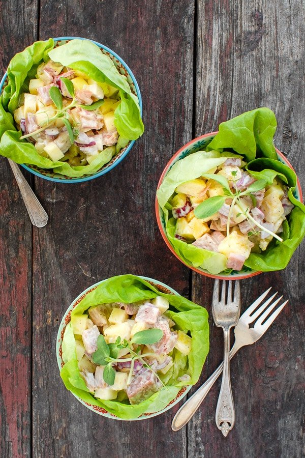 three bowls Hawaiian Chopped Ham Salad recipe