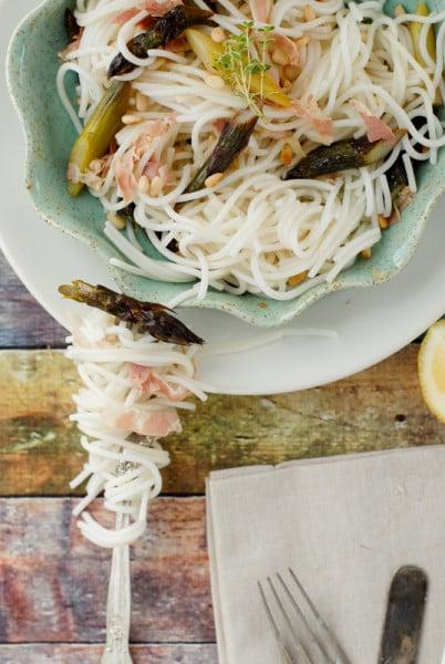 Lemony Purple Asparagus Pancetta Pasta BoulderLocavore.com