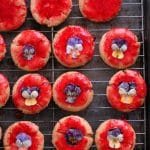 Raspberry-Vanilla double glazed Sugar Cookies with Sugared Pansies