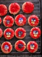 Raspberry-Vanilla glazed Sugar cookies with Sugared Pansies | BoulderLocavore.com #glutenfree