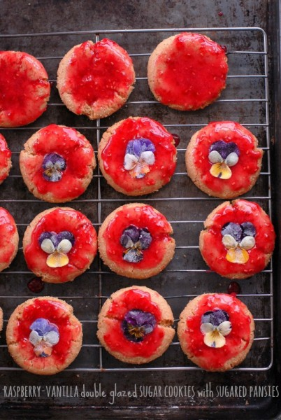 Raspberry-Vanilla glazed Sugar cookies with Sugared Pansies