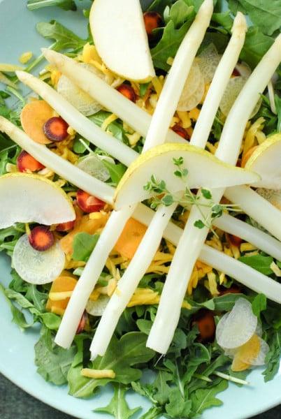 White Aspargus Arugula Spring Salad BoulderLocavore.com