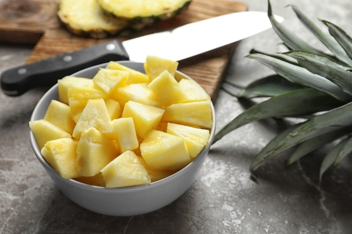 pineapple chunks in a bowl