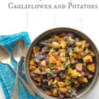 Spiced Indian Cauliflower and Potatoes {Aloo Gobi} in bowl