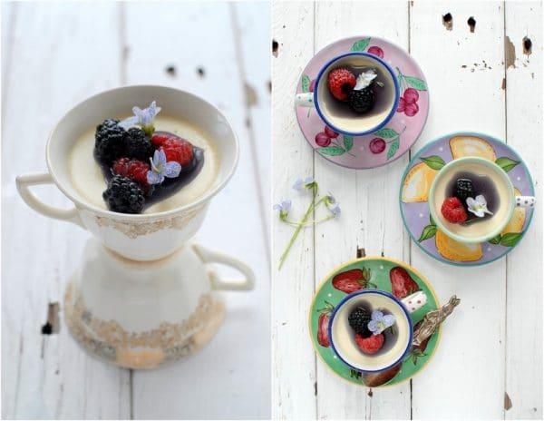 Teacup Panna Cotta with Creme de Violette syrup | BoulderLocavore.com