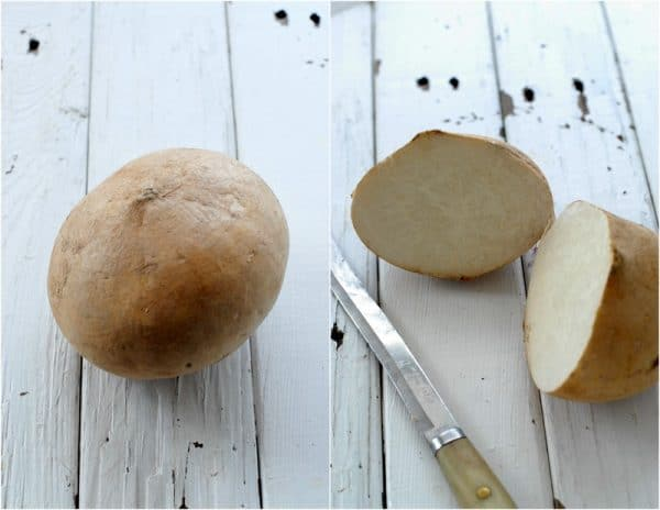 Jicama is a tuberous root comprised of almost 95% water. It is crunchy in texture and slightly sweet giving many possibilities with which to pair it in cooked and raw dishes. It is very refreshing when served cool and a great substitute for chips when sliced thinly.
