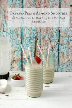 Banana-Peach Almond Smoothie with straws