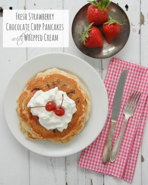 Fresh Strawberry Chocolate Chip Pancakes #gluten-free - BoulderLocavore.com