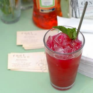 beet cocktail on table
