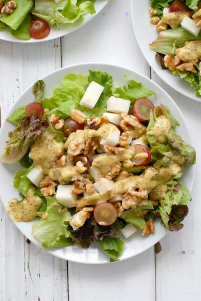Grape Jicama Walnut Salad with Mango Jalapeno Poppy Seed Dressing - BoulderLocavore.com