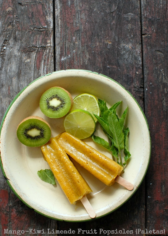 Mango-Kiwi Limeade Fruit Popsicles {Paletas} - BoulderLocavore.com