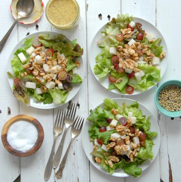 Red Grape Jicama Walnut salad with Mango Jalapeno Poppy Seed Dressing - BoulderLocavore.com