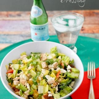 Summer Grilled Chicken Chopped Salad in large white bowl
