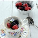 Teacup Panna Cotta with Berries in Creme de Violette Syrup