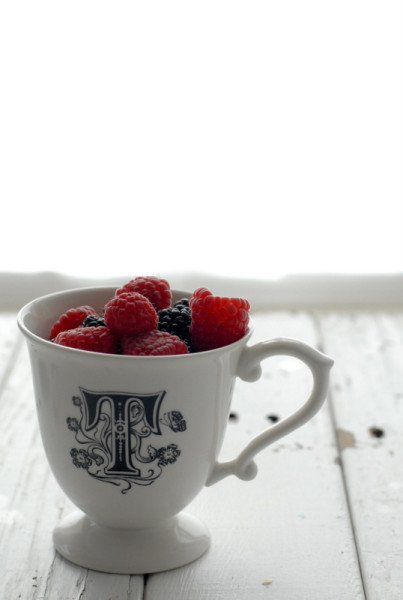 Mother's Day gift idea!  This initial cup was a gift from a friend a few years ago from Anthropologie.  You could make the Panna Cotta in a cute personalized mug for Mom and when the dessert is finished, she'll have a great momento!
