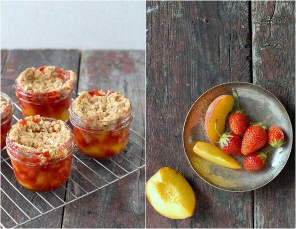 Strawberry and Peach Fruit Crumble {cobbler} Jars | BoulderLocavore.com