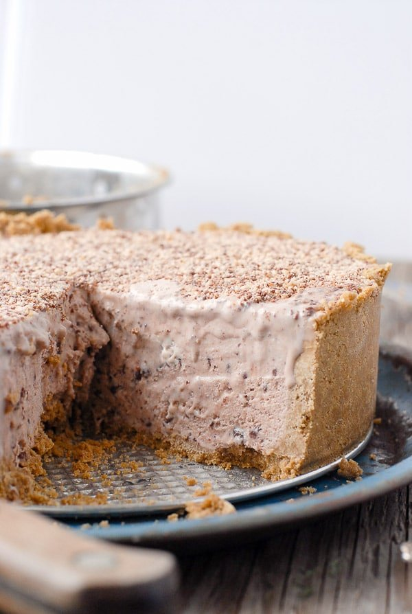 Chocolate Hazelnut Toffee Ice Cream Pie sliced